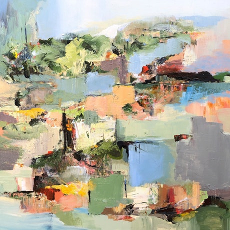 this artwork is an abstracted version of a landscape with a river running through.  But it is abstract shapes that form the landscape.