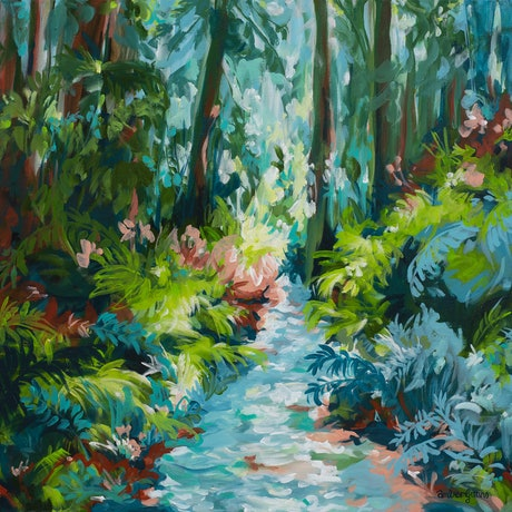 small blue and green impressionist style river in a forest scene.