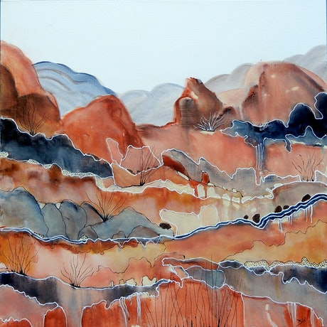 Abstract landscape inspired by the Red Centre of Australia