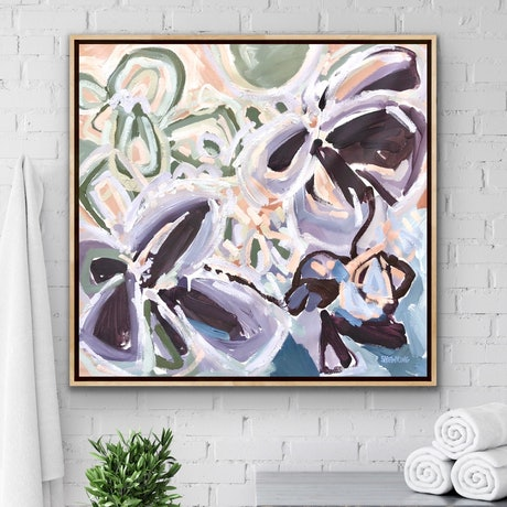 Beautiful flowers in expressive abstract style with big sweeping brushstrokes in purple, mauve, lilac, blush pinks, petrol blue and sage green on a large rectangular canvas in landscape orientation.