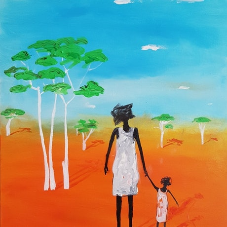 Mom & daughter walking in the Outback.
