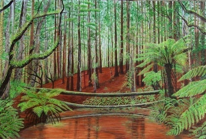 (CreativeWork) Rainforest Victoria - After the Fire by etienne cohen. arcylic-painting. Shop online at Bluethumb.