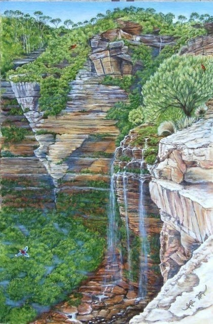 (CreativeWork) Wentworth Falls by etienne cohen. arcylic-painting. Shop online at Bluethumb.