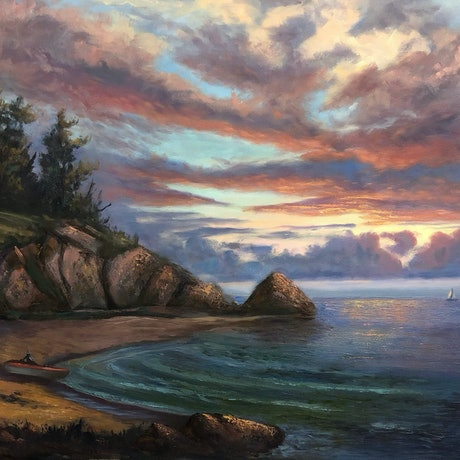 An original oil painting in oils of a sunset dramatic sky and fishermen just returning from fishing.