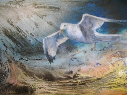 (CreativeWork) Sea gull by mccotterart mccotter. mixed-media. Shop online at Bluethumb.