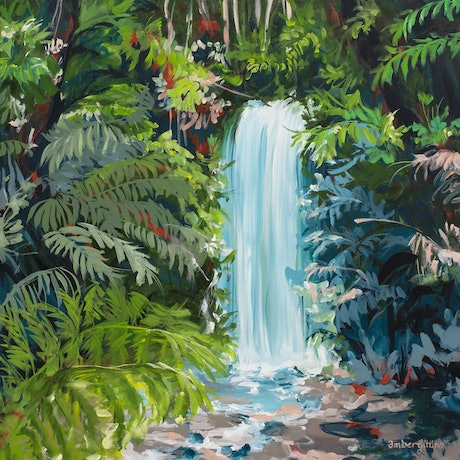 small modern impressionist style landscape painting in the tropics with a waterfall.