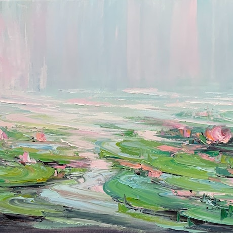 Water lilies with green and pink colours.