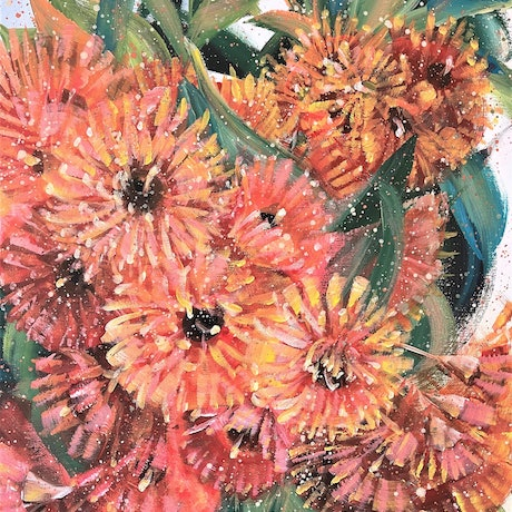 May Your Days Be Filled With Light - Flowering Gum 15/01/2021 by HSIN LIN 40cm (W) x 50cm (H) x 3.5cm (D) Ready to hang Acrylic on Acid free canvas <br> Affirmation: Stand still and proud. May our days be filled with light. <br> From where I live in Bayswater, there is a big field of forest nearby my studio. My creating process normally start from a short walk into the woods, touching the texture of the barks, feeling the sunlight reflecting on the leaves and grasses. I then collect whatever I found during the walk as inspiration. Sometimes I have various tree leaves or bird feathers; in autumn I have acorns, wattles in winter. There's only one rule for my collecting process, never take from the living tree/life. I collect what had fallen only, and those are the gift from the nature of the day for me. <br> Recently I found out that the new growth gum tree was having its first bloom. I was obsessed with the delightful view of the sunlight reflected on those striking orange blossoms every time I walk pass by this particular tree. It has become a routine of mine to paint the first bloom of the plant around my surrounding, now you are looking at my latest interpretation of my favourite gum tree. <br> CORYMBIA FICIFOLIA (BABY ORANGE), a tough Australian native plant with brilliant bright orange flowers in summertime, is quite common in urban areas, gardens and streetscapes. New growth appears bronze-red then turns green providing a beautiful contrast of colour. Eucalyptus flowers also have the symbolic meaning as Healing and Protection.   Flower always bloom in their own time without competing with other flowers. May we all bloom in our time in the best season. Hope you enjoy this artwork of mine. <br> Artwork inspired by nature in Summer 2021, Bayswater, Melbourne, Victoria. -HSIN LIN