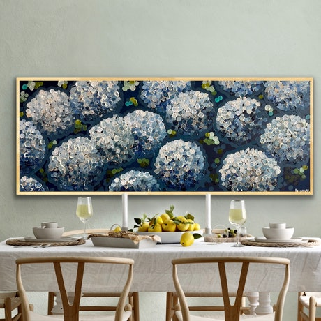 Abstract hydrangeas captured in the moonlight