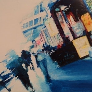 (CreativeWork) Between shopping and coffee at Glebe by Ruby Jackson. arcylic-painting. Shop online at Bluethumb.