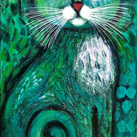 Cute Blue- green cat with white whiskers