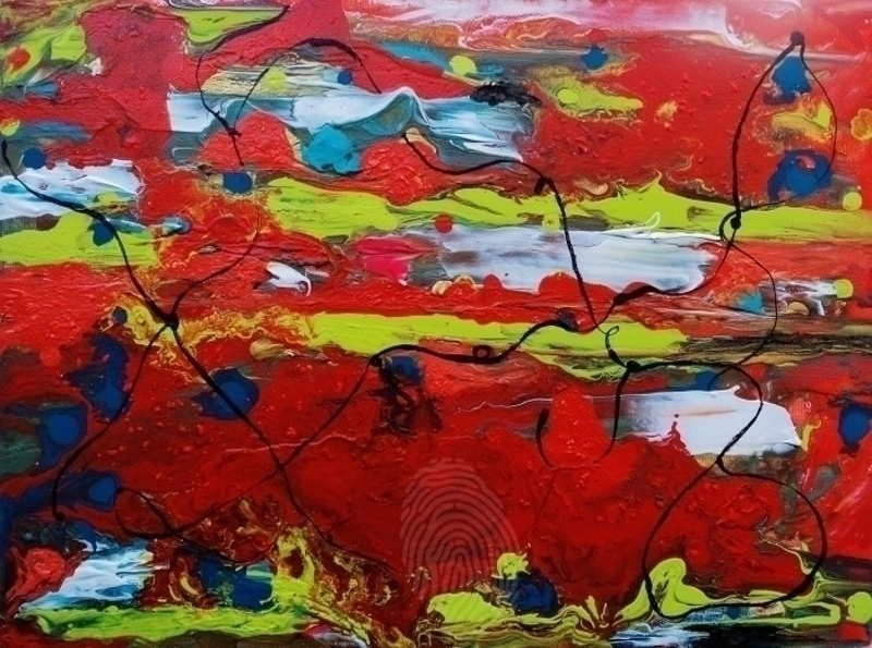 (CreativeWork) Geo Convolutions by Ruby Jackson. arcylic-painting. Shop online at Bluethumb.