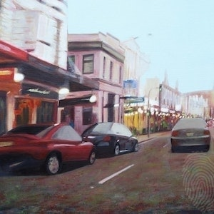 (CreativeWork) Dropping by Newtown by Ruby Jackson. other-media. Shop online at Bluethumb.