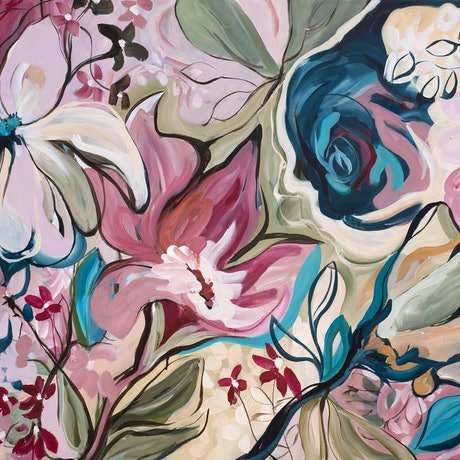 Modern style of abstract botanical floral shapes and line work.