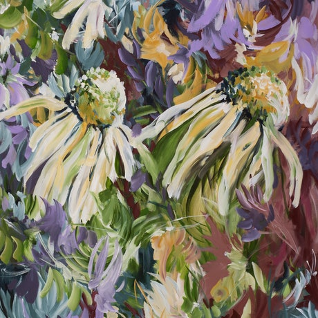 large abstract wild flower painting in a modern colourful style