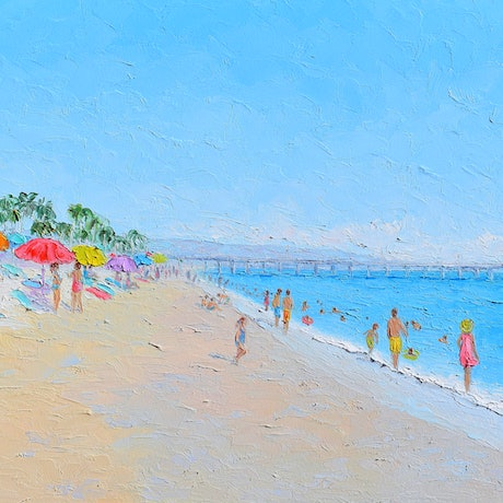 Thickly textured painting of Newport Beach and the Balboa Pier
