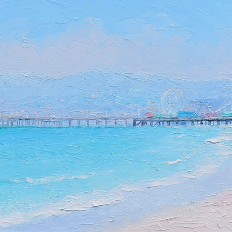 Painting of Santa Monica Beach and the pier with ferris wheel in soft shades of blue.