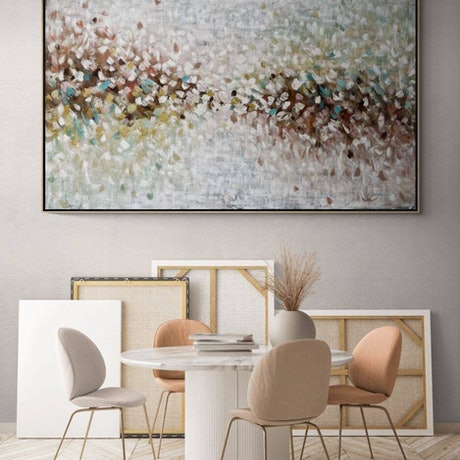Large brushstrokes of oil paint and layers of gorgeous earthy colours.