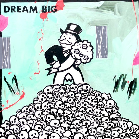 The Monopoly Man standing on a pile of skulls