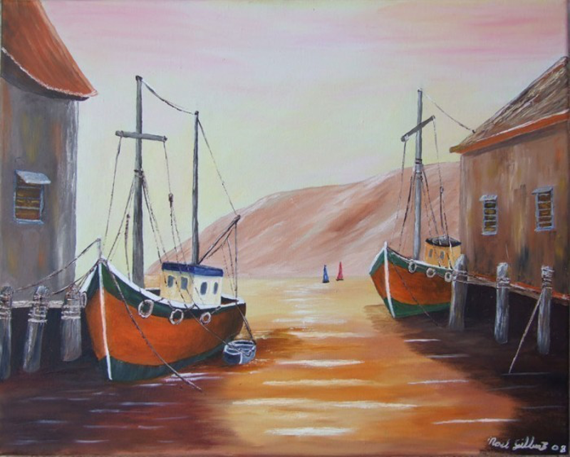(CreativeWork) Fleet at Reat by Noel Gilbert. oil-painting. Shop online at Bluethumb.