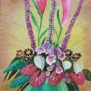 (CreativeWork) Floral Display by Noel Gilbert. oil-painting. Shop online at Bluethumb.