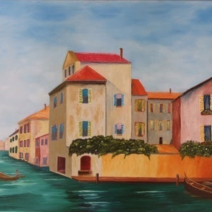 (CreativeWork) Water City by Noel Gilbert. oil-painting. Shop online at Bluethumb.