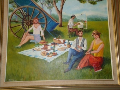 (CreativeWork) A day in the country by Ken Pearce. oil-painting. Shop online at Bluethumb.
