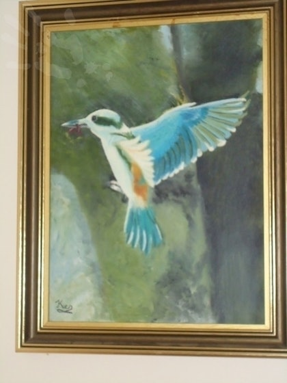 (CreativeWork) kingfisher by Ken Pearce. oil-painting. Shop online at Bluethumb.