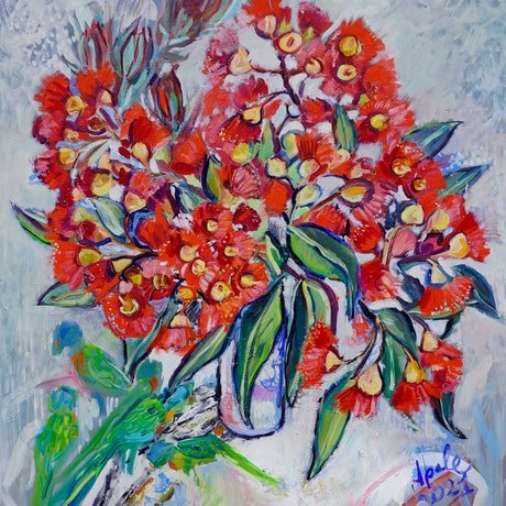 Still Life with Flowering Gum and lorikeets