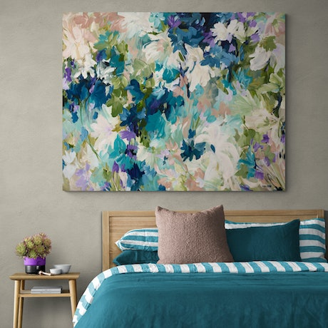 Large blue and green impressionist flower abstract painting