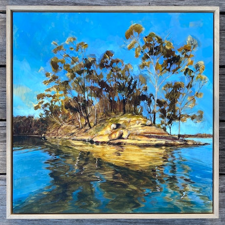Golden Sunset light through gum trees  with water reflections