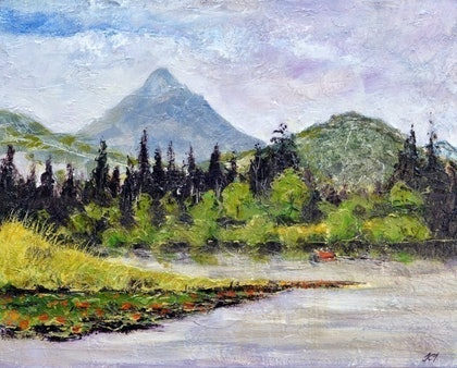 (CreativeWork) Clarrie Hall Dam Mt Warning NSW by John Taylor. arcylic-painting. Shop online at Bluethumb.