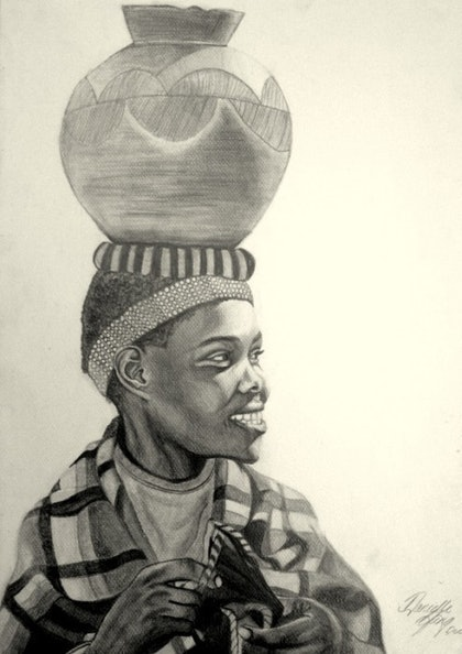 (CreativeWork) African woman by Danielle Kate. drawing. Shop online at Bluethumb.