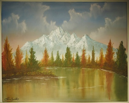 (CreativeWork) Fall at Dusk by Ryan Smith. oil-painting. Shop online at Bluethumb.