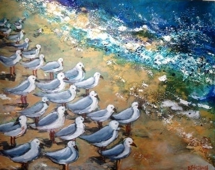 (CreativeWork) Seagulls by the Seashore by Bronwyn Hastings. mixed-media. Shop online at Bluethumb.