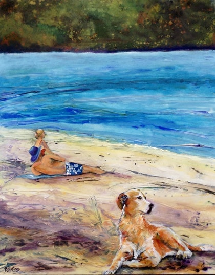 (CreativeWork) Relaxing at Horseshoe Bay by Bronwyn Hastings. arcylic-painting. Shop online at Bluethumb.