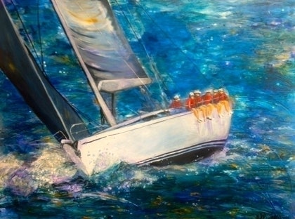 (CreativeWork) Out in Front by Bronwyn Hastings. arcylic-painting. Shop online at Bluethumb.
