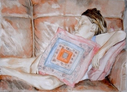 (CreativeWork) Emily asleep by Paul Roberts. watercolour. Shop online at Bluethumb.