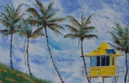(CreativeWork) Lifegaurd 41 by Paul Roberts. oil-painting. Shop online at Bluethumb.