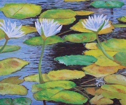 (CreativeWork) lillies by Paul Roberts. oil-painting. Shop online at Bluethumb.