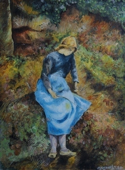 (CreativeWork) blue girl by Paul Roberts. oil-painting. Shop online at Bluethumb.