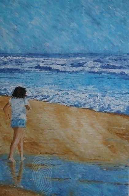 (CreativeWork) Beach walker by Paul Roberts. oil-painting. Shop online at Bluethumb.