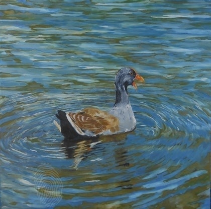 (CreativeWork) Treading water by Paul Roberts. oil-painting. Shop online at Bluethumb.
