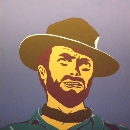 (CreativeWork) Clint Eastwood by Dan Minnis. arcylic-painting. Shop online at Bluethumb.