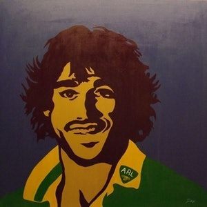 (CreativeWork) Johnathon Thurston by Dan Minnis. arcylic-painting. Shop online at Bluethumb.