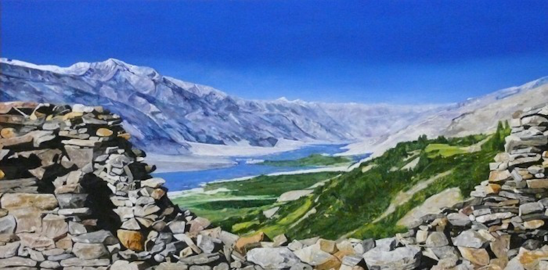 (CreativeWork) Wakhan Valley by Jeremy Elkington. oil-painting. Shop online at Bluethumb.
