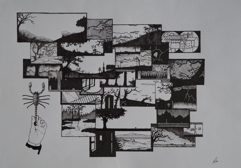 (CreativeWork) Gothic Montage 1 by Jeremy Elkington. drawing. Shop online at Bluethumb.
