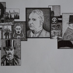 (CreativeWork) Gothic Montage 3 by Jeremy Elkington. drawing. Shop online at Bluethumb.