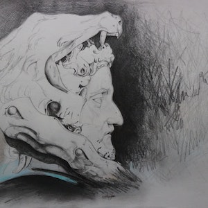 (CreativeWork) The Emperor Commodus by Jeremy Elkington. drawing. Shop online at Bluethumb.