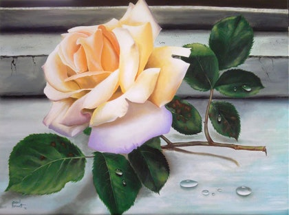 (CreativeWork) The Rose by Paul Bennett. arcylic-painting. Shop online at Bluethumb.